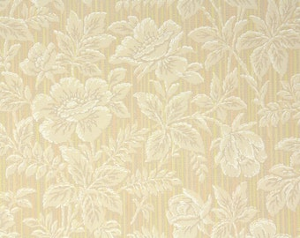 1930s Vintage Wallpaper by the Yard - Tiny Stripes and Tan and Cream Flowers