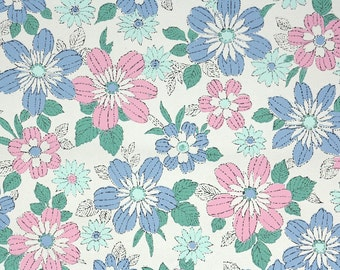 1960s Vintage Wallpaper by the Yard - Pink and Blue Daisy Floral
