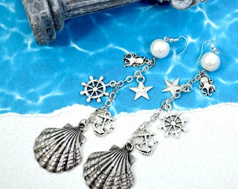 Silver Ocean Clam Shell Dangle Earrings - Pearl and Silver Nautical Charms Earrings