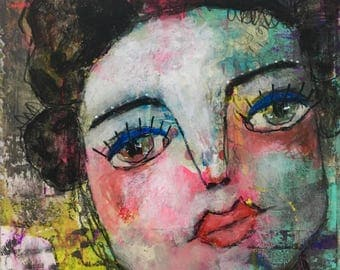 The Eyes Have It, Outsider, Mixed Media Painting, Folk Art, Abstract, Collage, Mystele