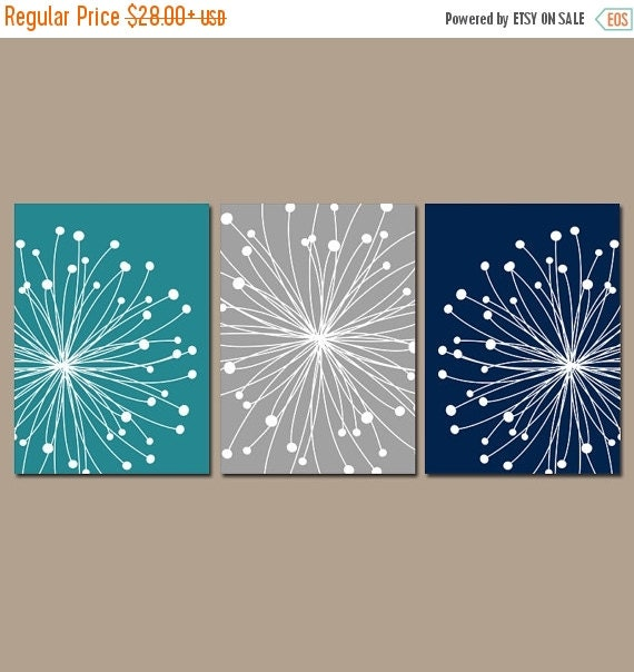 DANDELION Wall Art CANVAS Or Prints Teal Gray Navy By