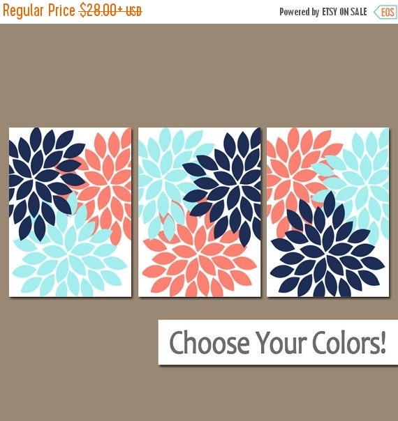 Coral navy blue bedroom pictures canvas or prints bathroom artwork