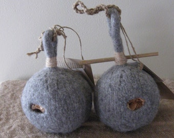Felted Bird Yurt/Medium Grey Heather/Perch or Without/Bird House/All-Natural Yarn/Ready to Ship