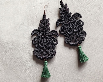 black lace tassel earrings | ODETTE | boho earrings, statement earrings, black and green, victorian earrings, bohemian, spring fashion