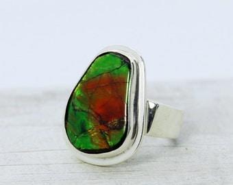 Ammolite ring sterling silver genuine Ammolite stone jewelry multicolor Canadian Ammolite stone
