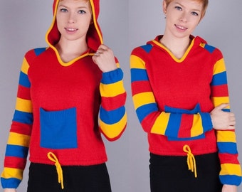 Graphic Color Block Vintage 1960s Vtg 60s Red MOD Knit PULLOVER Sweater/Jumper HOOD Hoodie xxs/xs/s