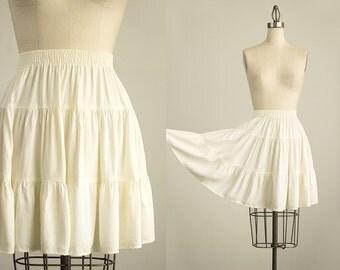 90s Vintage Clio Cream Full Circle Mini Skirt / Size Large