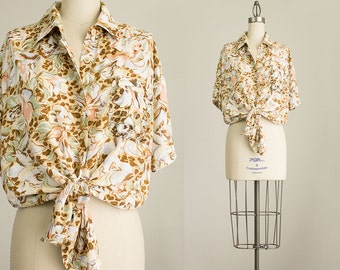 90s Vintage Soft Ecru Beige Floral Print Oxford Blouse / Size Medium