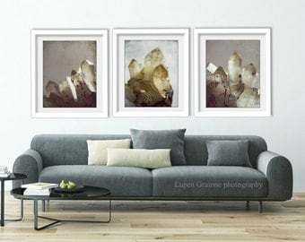 "Crystal art prints | nature wall art | mineral gemstone art | gray mauve pale yellow photographs 11x14 8x10 ""Rock Crystal Set of Three"""