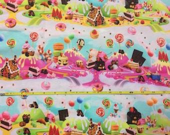 "NEW Sweet Treats on cotton lycra knit fabric 95/5 58"" wide."