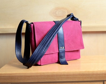 Waxed Canvas Bag, Crossbody Canvas Bag, Waxed Canvas Purse, Messenger Bag, Waxed Canvas Satchel - The Davy Mini Messenger in Hot Pink