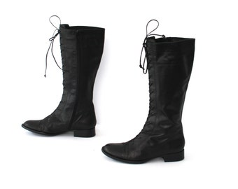 size 6 GOTH black leather 80s 90s GRUNGE lace up tall platform boots made in ITALY