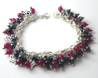 Pink Grey Lotus Charm Bracelet - Swarovski Pearl Jade Goldstone - Floral Theme - Lotus Chunky Bracelet - Beaded Gemstone Cluster Bracelet