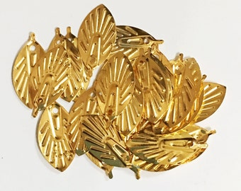 50 pcs of gold  plated leaf drops 19X9mm, bulk leaves charm