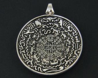 Tribal Medallion Pendant Antique Silver Large Mandala Tibetan Style Pendant Ornate Jewelry Component |S4-2|1