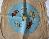 Vintage Cats Kitty Bucilla Needlepoint Embroidery Completed Canvas
