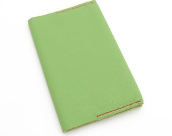 Preppy Journal, Refillable Journal, Green Leather Notebook, Leather Journal Cover, Pink and Green, Refillable Notebook