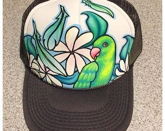 Love bird and pikake flower hand painted trucker hat adult size charcoal grey