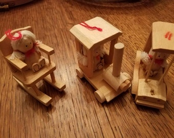 Set of 3in the box Vintage 1979 Yule  Tots Wood  Christmas Ornaments