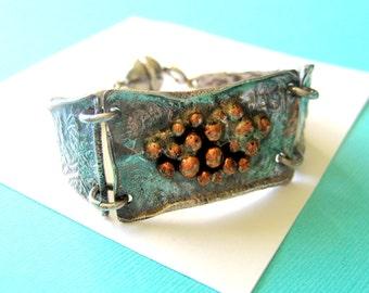 Italian Modernist S. GIGLI Sterling and Copper Bracelet