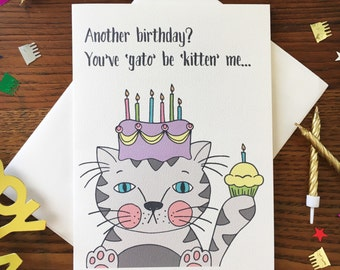 Cat Card. Cat Birthday Card. Cat Lover Card. Cat Pun Card. Funny Cat Card. Cat With Cake. Single Card. Blank Card. Kitten Card. For Friend