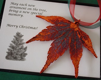 Copper Maple Leaf Ornament, Real Leaf Japanese Maple, Maple Leaf Extra Large, Ornament Gift, Christmas Card, ORNA75