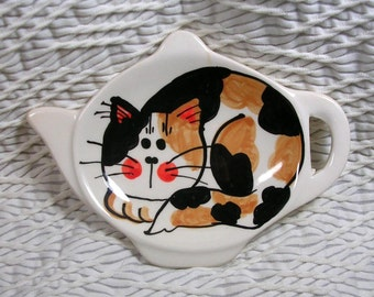 Calico Cat Teabag Holder Handmade Kiln Fired Ceramic Clay by GMS