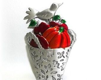 Bird Pumpkin Apple Basket JJ pin Jonette brooch vintage jewelry Harvest pewter