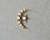 1920s Antique Crescent Moon and Star Brooch Paste Rhinestone As Is