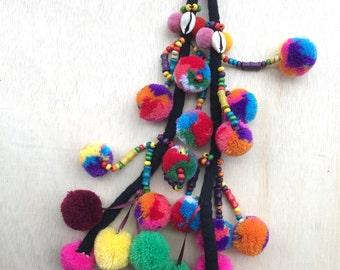 Neon Pom Pom Tassel decoration / camel swag / bohemian style / gypsy fashion / bag charm / llama swag / accessory