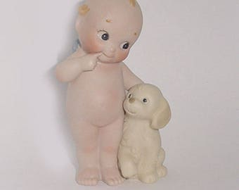 Kewpie by Enesco -Bisque  Kewpie with an Adorable Dog   Dated 1991  -So Sweet