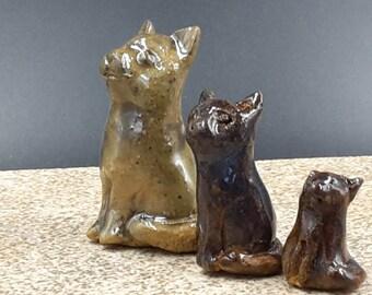 Miniature cat grouping - stoneware sculpture
