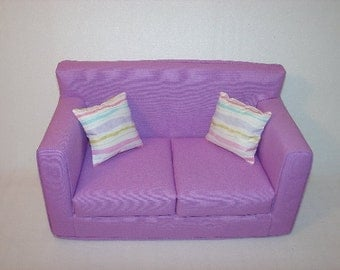 18 Inch Doll Couch - Sofa , Lilac - Lavender -  Handmade Doll Furniture