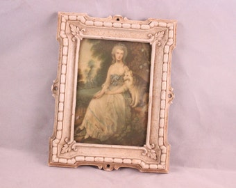 Vintage Mrs. Robinson as Perdita by Gainsborough Picture in Ivory Plastic Frame