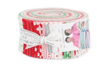 SALE Jelly Roll Strips - RED DOT Green DaSh Moda Christmas Fabric by Me & My Sister Designs