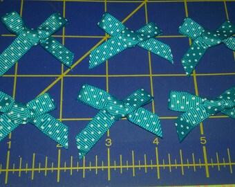 Qty: 20 Ocean Blue Polka Dot Bow appliques for scrapbooking, hair bows, hair clips, clothing, etc