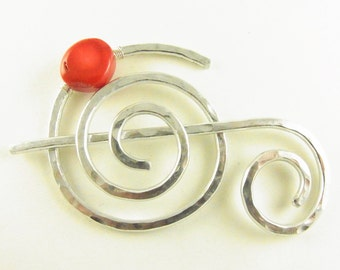 Hammered Shawl Pin Spiral with Genuine Bamboo Coral