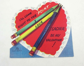 "Vintage Children's Novelty Valentine Greeting Card with Colored Pencils ""I'll Come Right to the Point"""