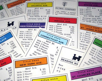 Monopoly Title Deed, Railroad and Utility Cards Set of 28