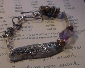 Speak Your Truth Bracelet  in Fine Silver and Bronze