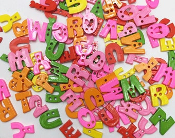 50pcs of  Alphabet Button Letter Button - Random Mixed in Shape and Color Set 033 Green Orange Yellow Pink Red