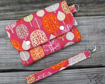 Wallet Wristlet Clutch MEDIUM Forest Leaves Made To Order