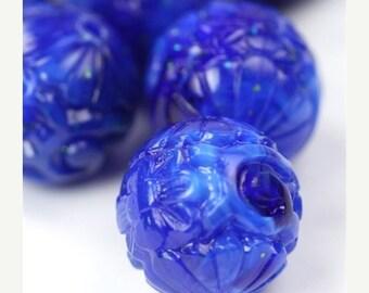 50% OFF SALE Vintage Beads Plastic Etched Floral Lapis Blue 14mm (6) VPB202