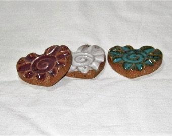 "1"" Sunburst Heart Bead Pendant Stoneware Pottery Ceramic - White, Teal/Turquoise/Jade, Purple/Plum"