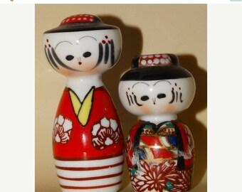 On Sale Vintage Porcelain Japanese Salt & Pepper Shakers, 48D