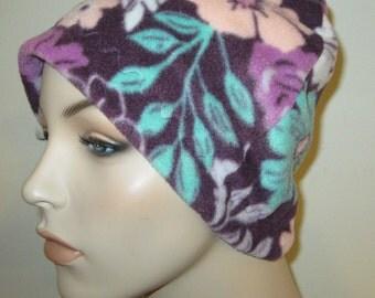 Cancer, Chemo Hat, Purple Floral  Anti Pill Fleece, Play, Sleep Cap