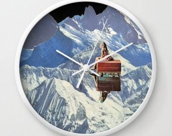 Wall clock - Somewhere along the way she found herself - collage art - surreal home decor for the dreamer, kids decor