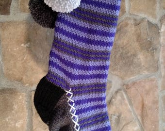 Old Fashioned Hand Knit Two tone Purple Horizontal Stripe Christmas Stocking with Snowflake and Ice Crystal detail