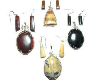 Pendants with chain and earrings sterling silver set