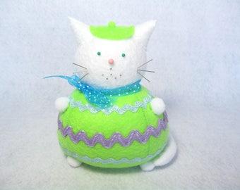 Easter egg decoration, Cat pincushion, Pretty felt egg, Cute Easter cat, Cute home decor, Cat lover art, Sewing gift, Felt cat doll, MTO